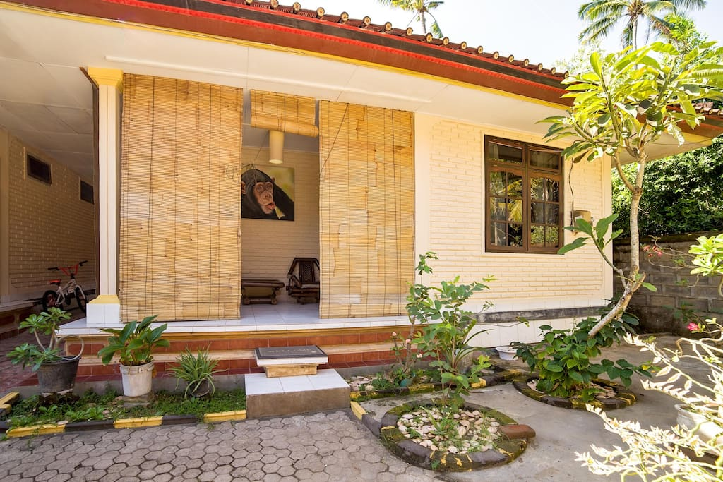 Private renovated patio with sitting area.