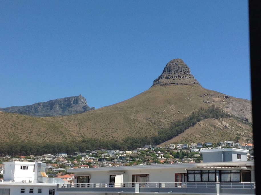 Views of Lion's Head and Table Mountain from the room and living area