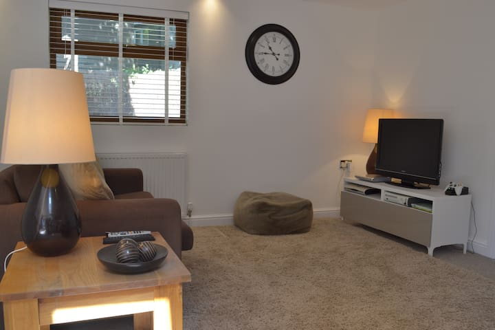 Open plan lounge area with TV and DVD player