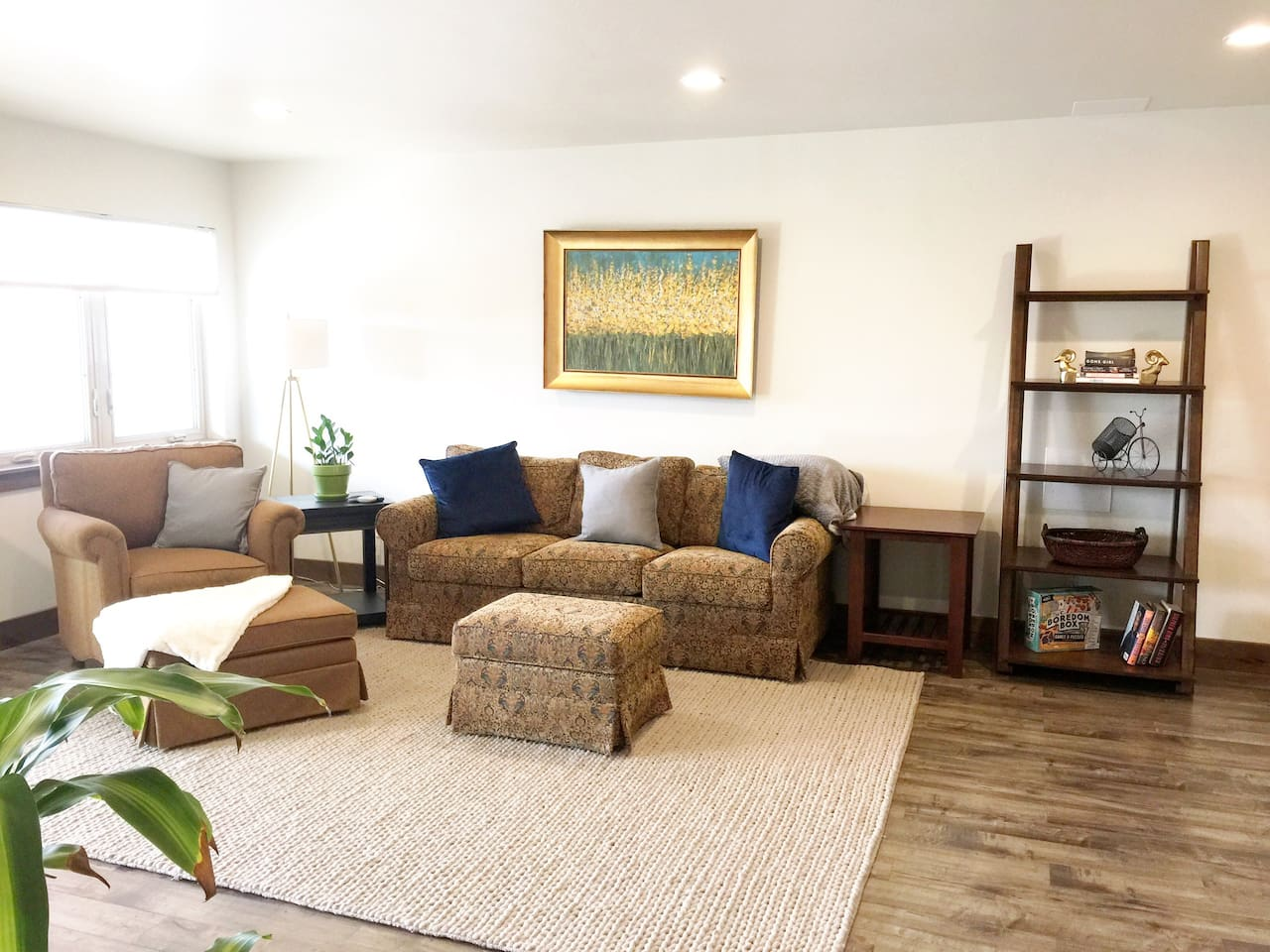 The living area is a comfortable place to wind down and catch the last few rays of sunlight.