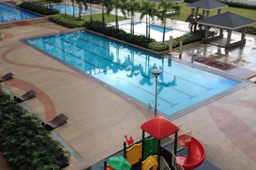 large pool area with playground