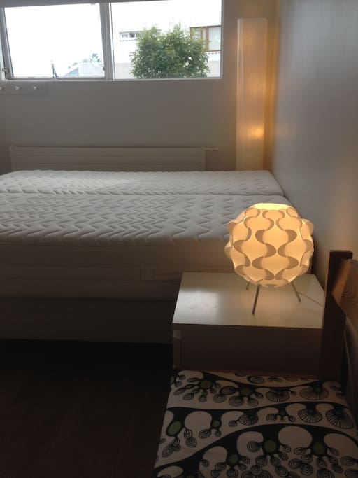 The bedroom setup with double bed (Two 90cm x 200cm beds)