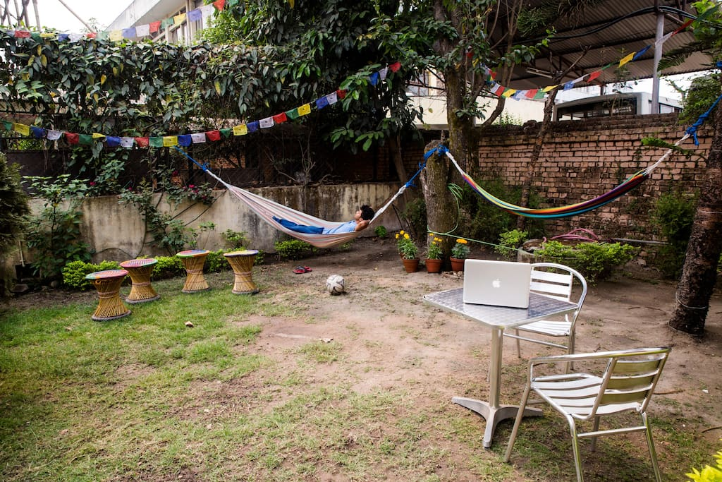 The front garden of the house. An oasis in crowded Kathmandu.