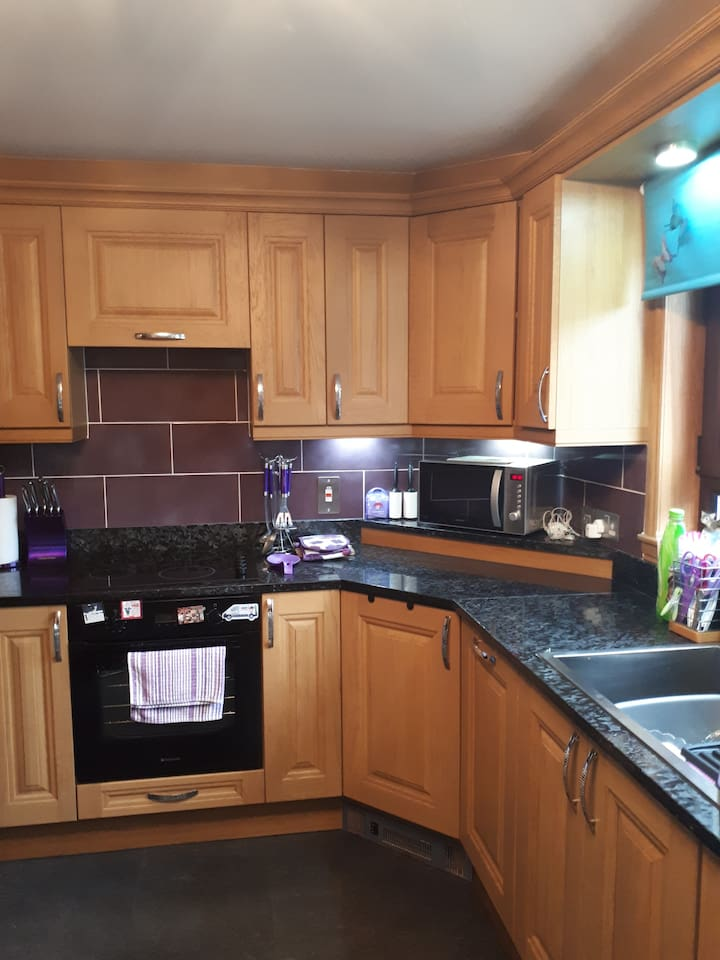 Shared kitchen with oven, grill and hob. Washing Machine, Tumble Drier, Microwave, Toaster and Kettle. Rotary Drier outside for clothes.