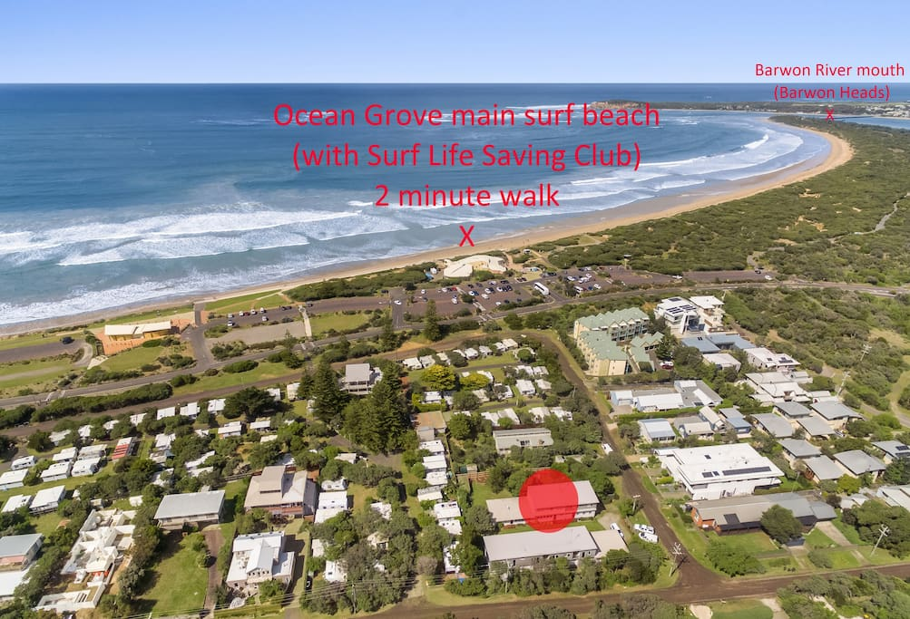 Aerial photo showing Alice's Palace relative to the main surf beach (with Surf Life Saving Club), a 2 minute walk