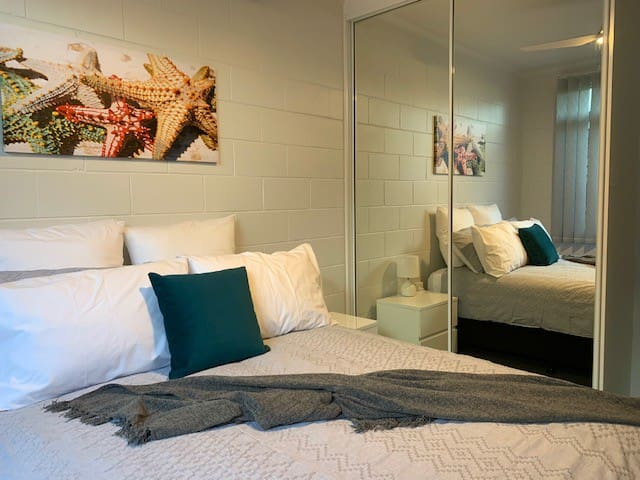 Enjoy a peaceful nights sleep in this comfortable bed. Extra blankets are provided in the built-in robes.