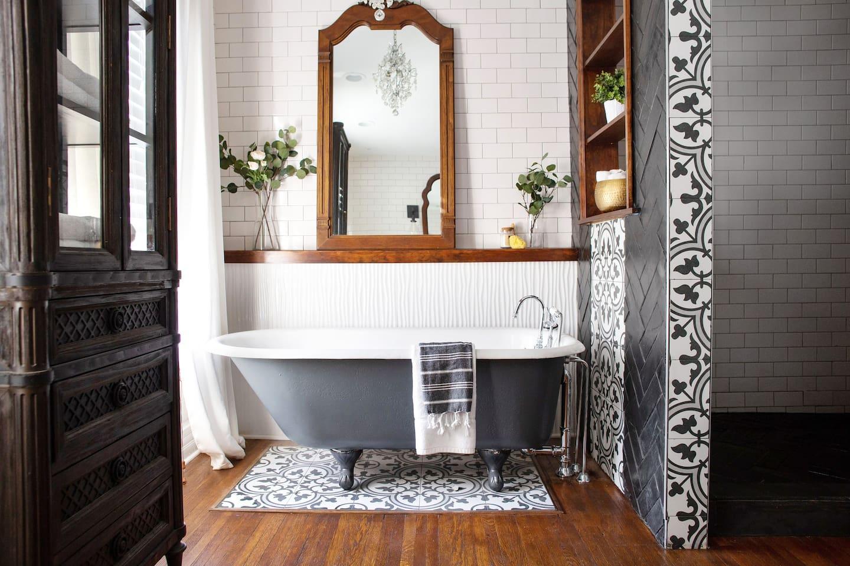 Master bathroom with 4' x 6' walk-in shower and original clawfoot tub
