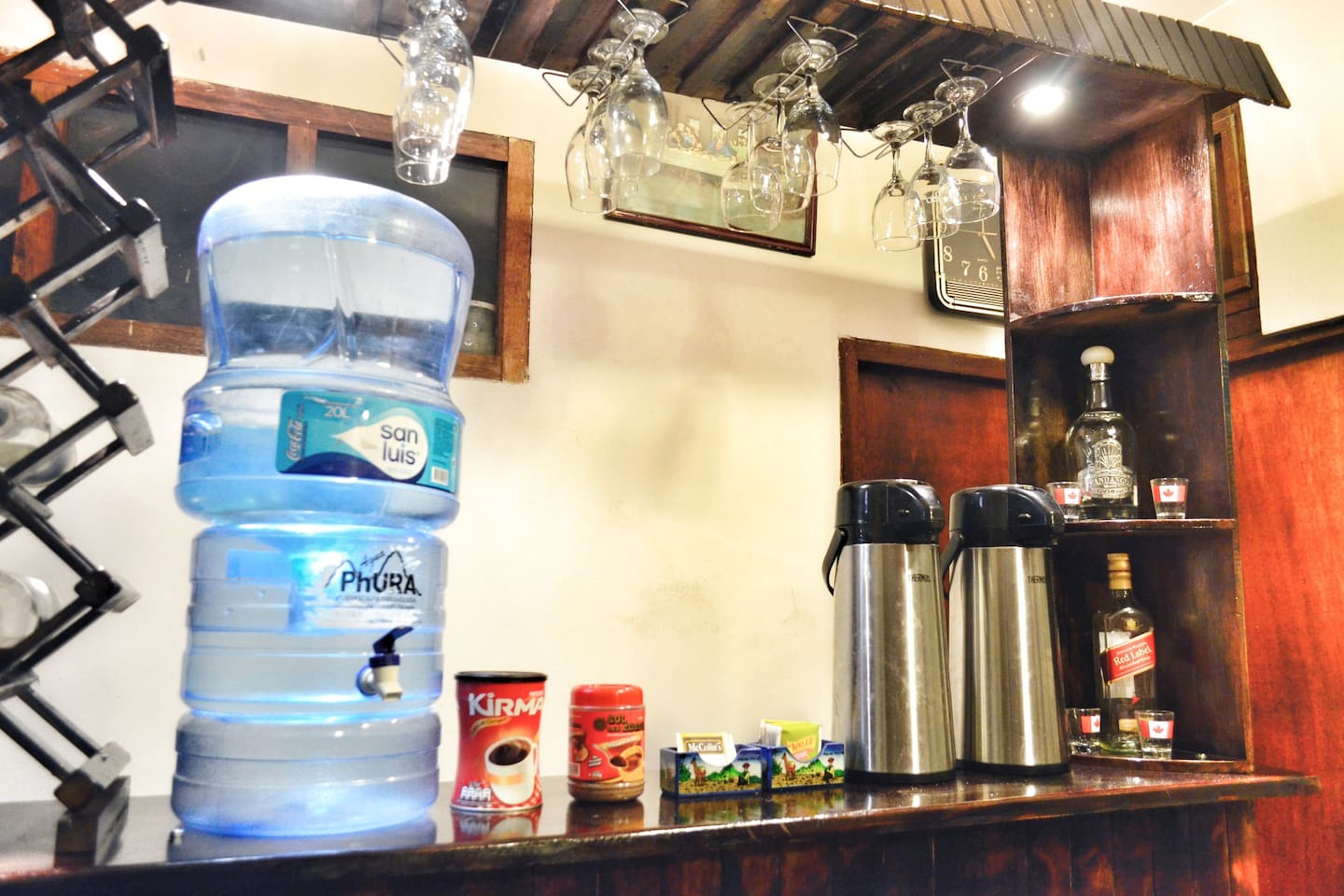 24 hour access to cold bottled drinking water & hot water for  Peruvian tea with herbs such as Coca, Chamomile, and Muña.
