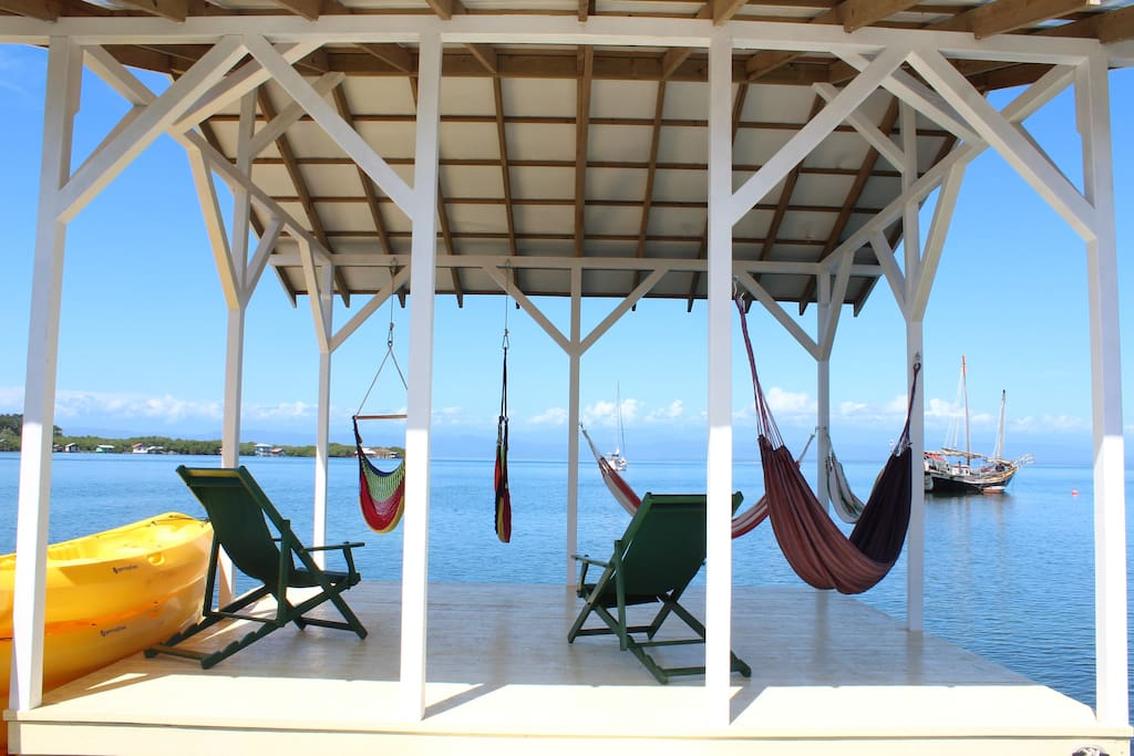 Our Pier where our guests can relax & enjoy that Caribbean Breeze, the beautiful view of the sea with the mountain mountain range in the background.