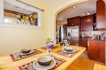 Breakfast nook in kitchen is a great way to start the day!