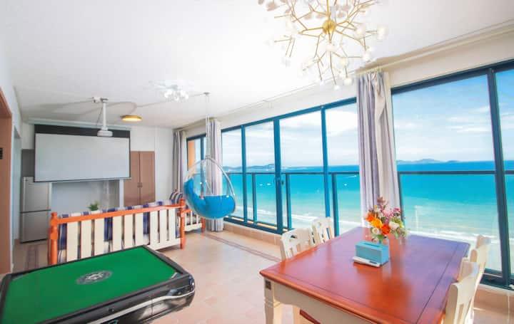 万科双月湾|网红泡泡椅270°全景海景两室一厅(投影&麻将&楼下沙滩&观日落)