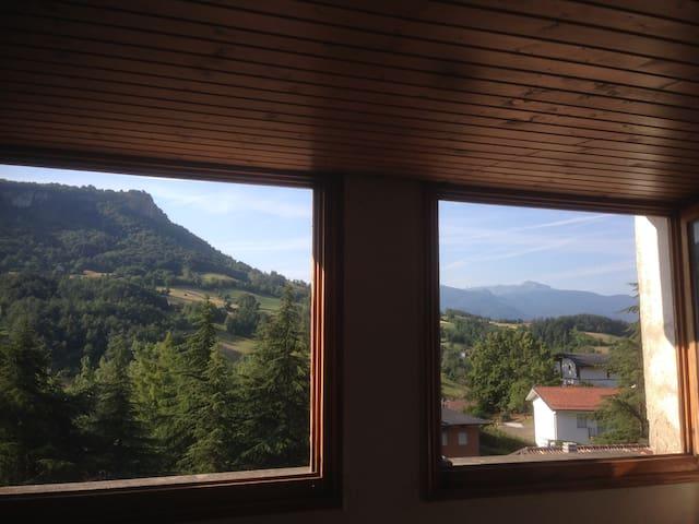 Vista Pietra di Bismantova e Monte Cusna dalla Camera n.1
