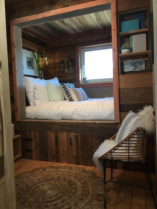 Cozy Bed nook with all natural wool mattress and organic cotton sheets