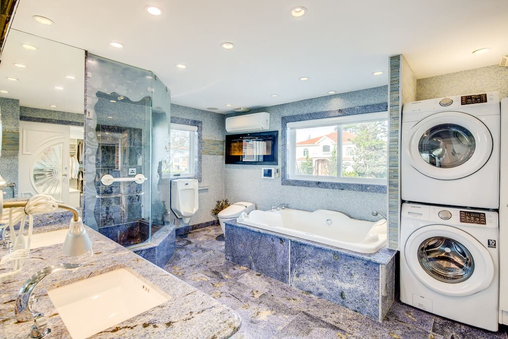 Steam Shower , Jacuzzi Bath , washer Dryer