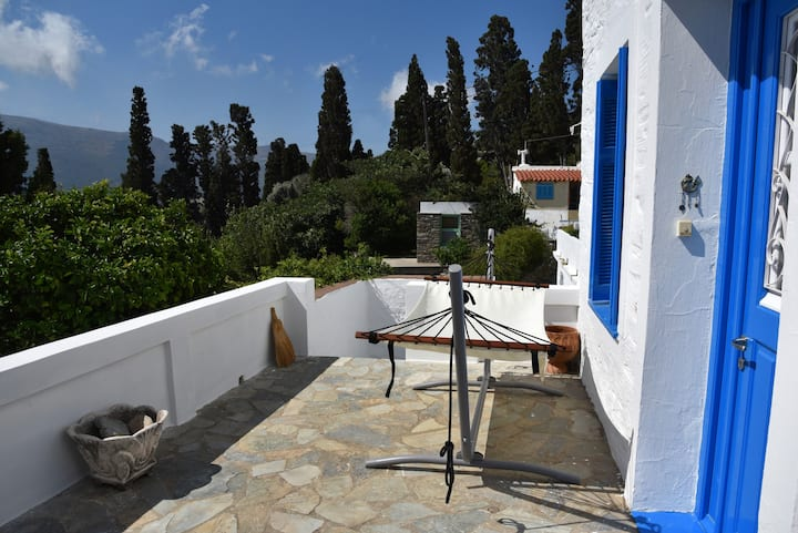 Traditional cycladic house with view in Andros