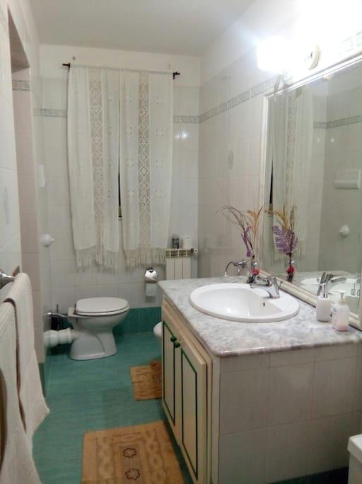 bagno principale con vasca ,wc, bidet ,lavandino ampio con una base di marmo ,