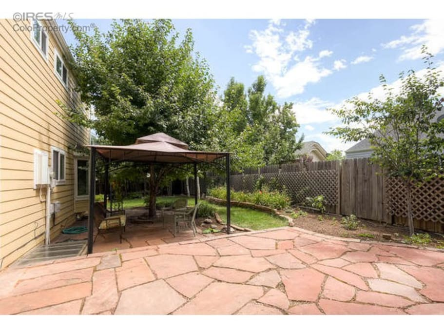 Backyard patio with grill