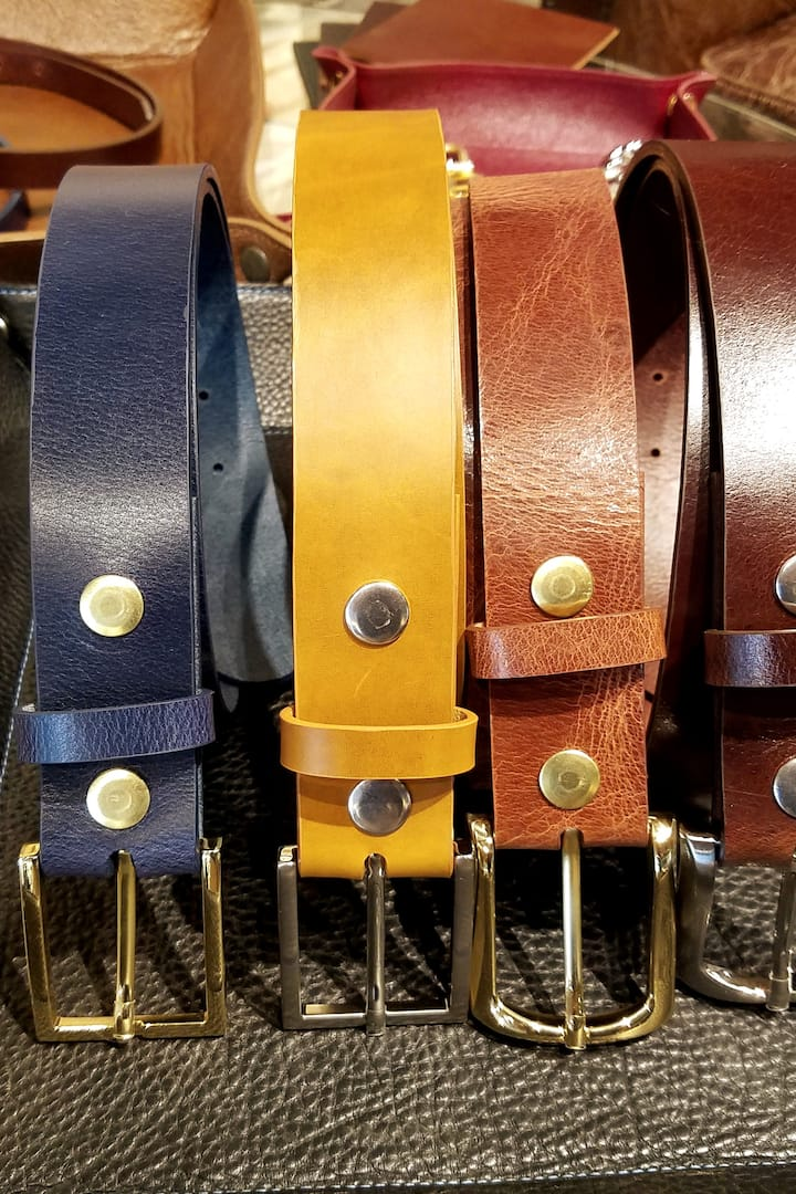 "Men's Full Grain Belts at 1.5"" and 1"""