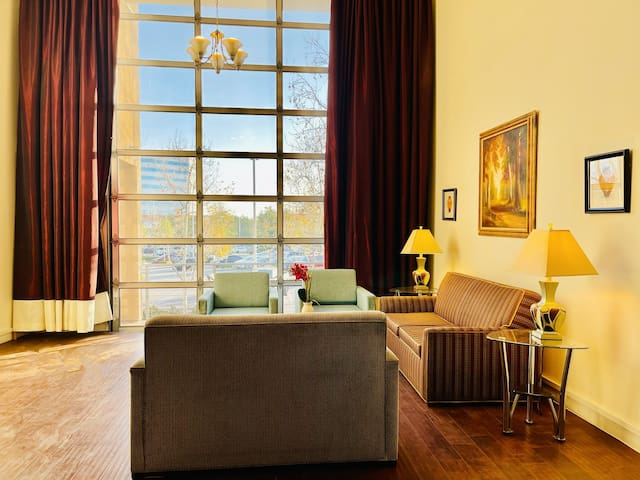 Living room with vaulted ceiling, 2 sofabeds. Very beautiful view  infront