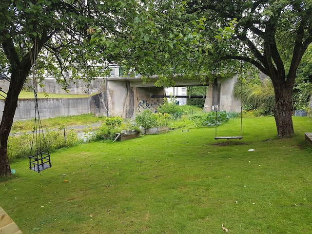 Garden with swings for the kids