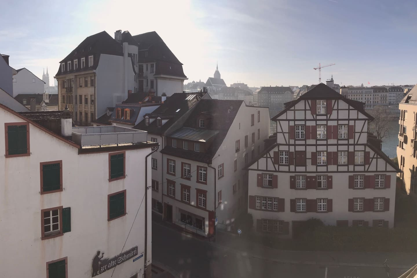 On the left the Basel Münster (Cathedral) and right in front, on the other side of the river, the Hotel Les Trois Rois