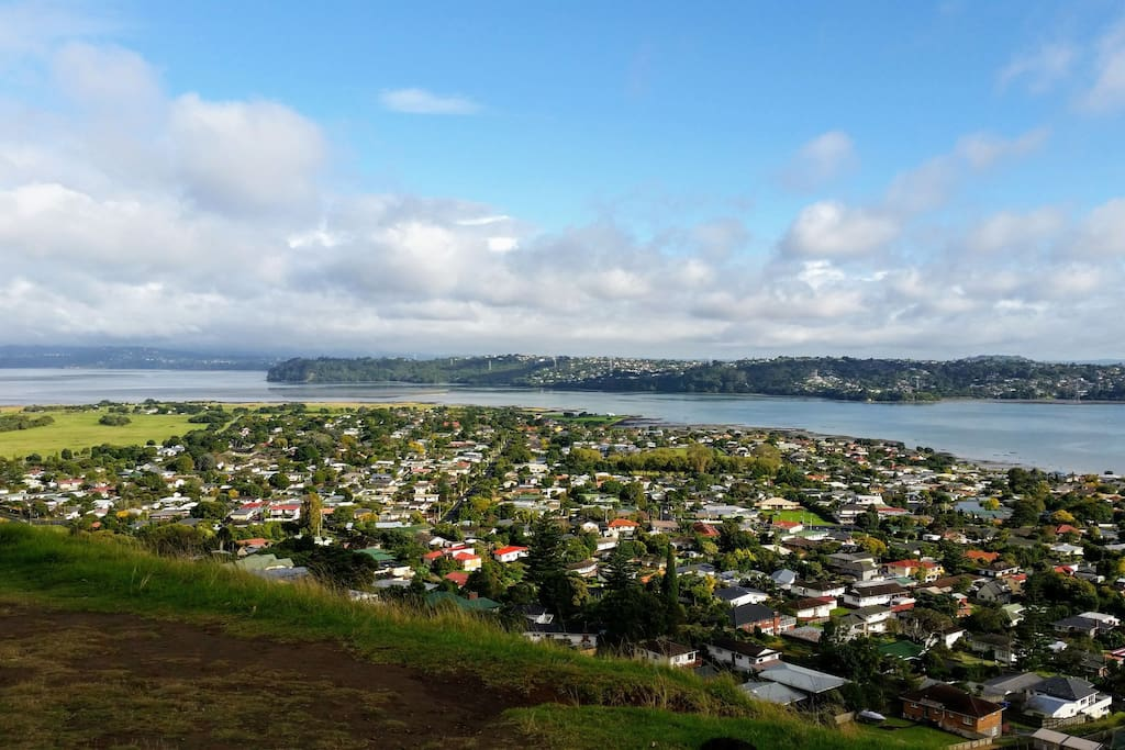 View from mangere mountain, about twenty minutes from our place