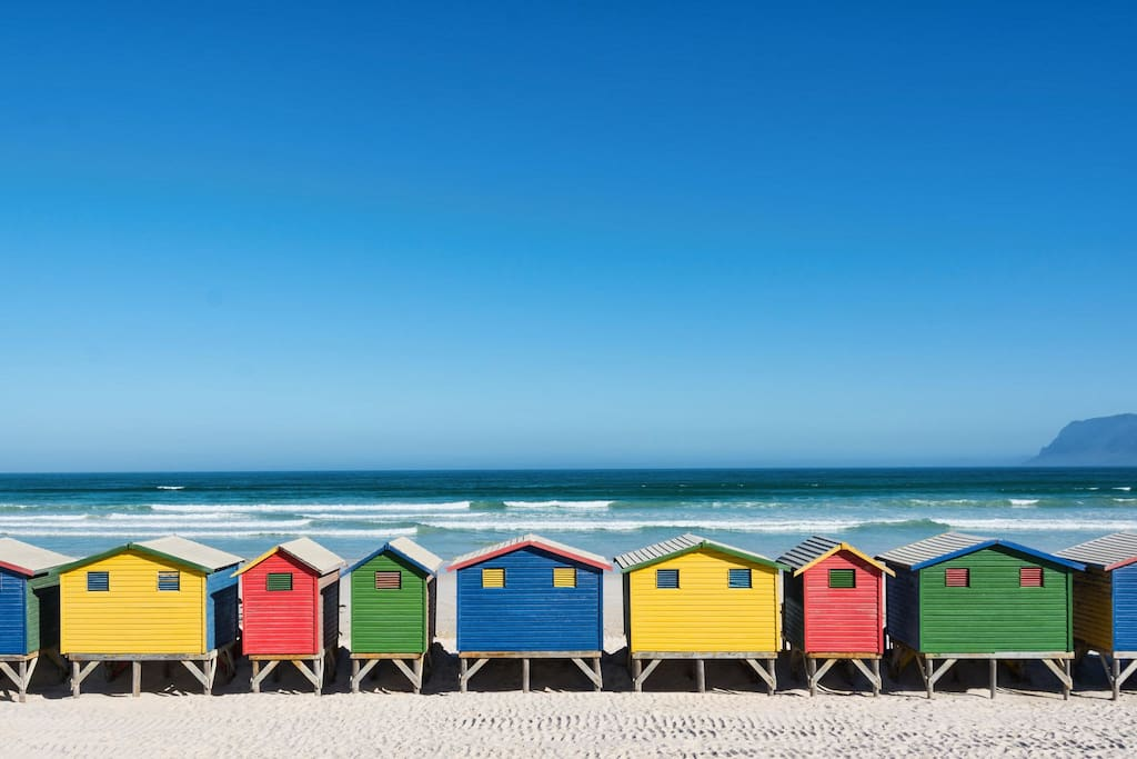 a view of our famous beach huts from the promenade in front of the apartment