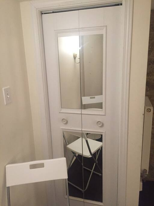 Mirrored door to closet