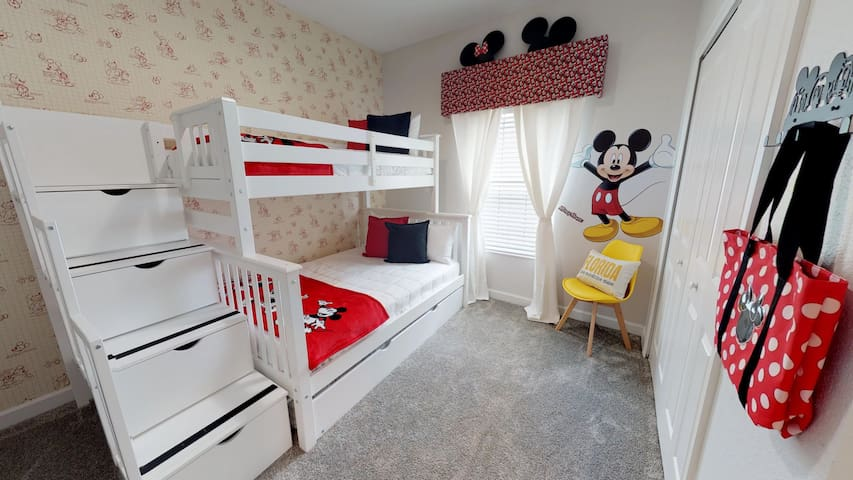 Mickey & Minnie themed bedroom with bunk bed