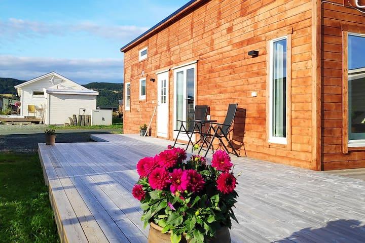 Minihus i kolonihage ved Trondheimsfjorden