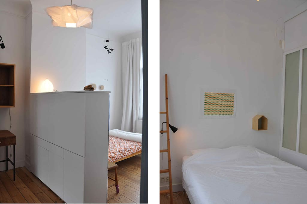 2 beds Ideal fo a couple and hoste. be carefull the second berdroom is connected to the open area and separated from it by a glass door