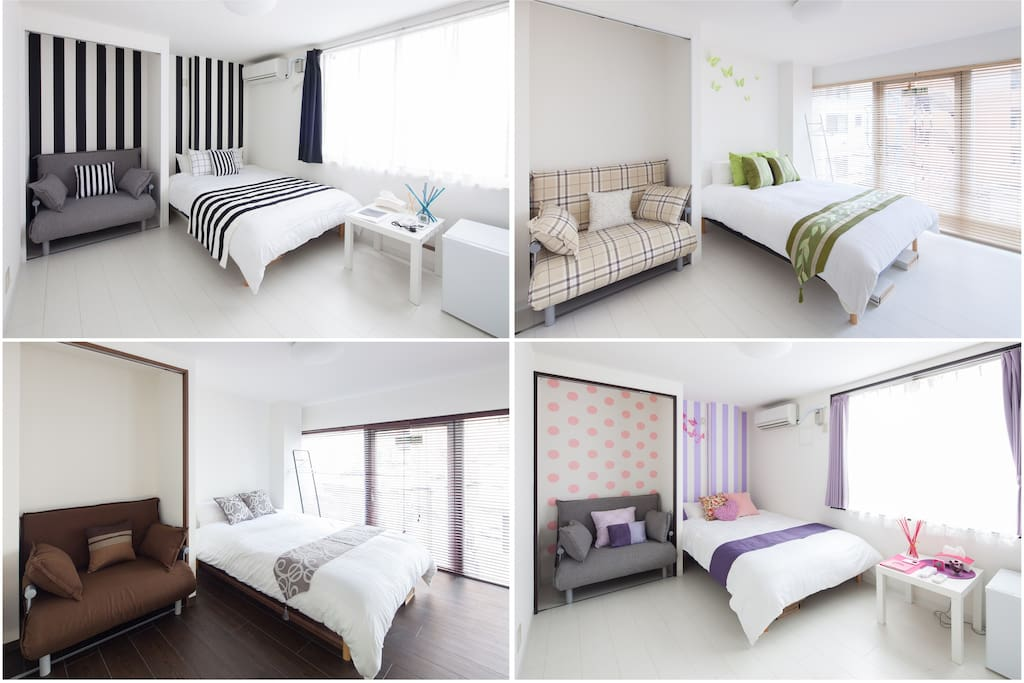 Each room has 1 double bed and 1 sofa bed.