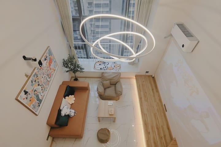 【微微'S Home】复式投影仪卡乐星球步行五分钟大小河街可做饭