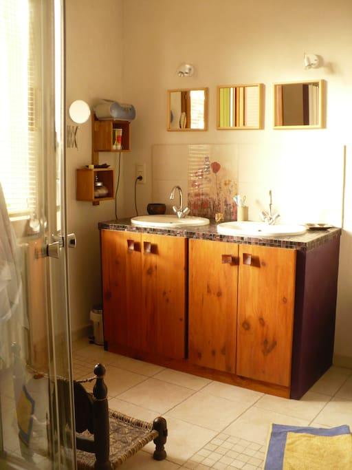 Une grande salle de bain : 2 vasques, 1 wc (bien caché!), 1 douche et une baignoire
