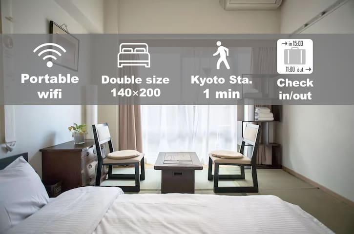 OH1*Sunny apt by Kyoto Station//FREE POCKET WIFI
