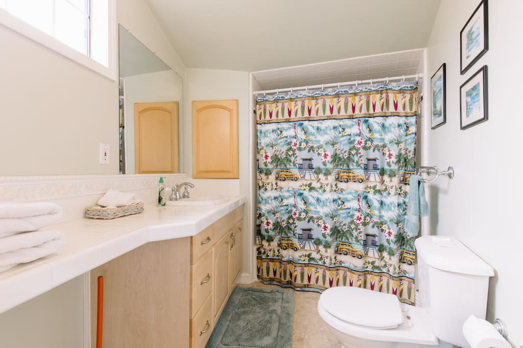 Your private full bath with lots of counter space.