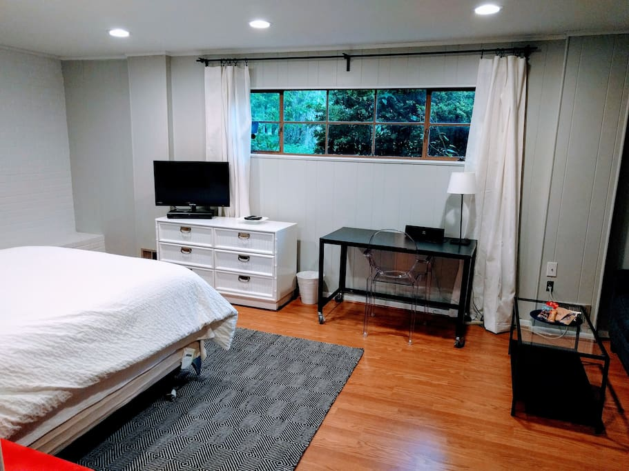 Relaxing garden view. Long-boy dresser, TV, desk, window with greenscape