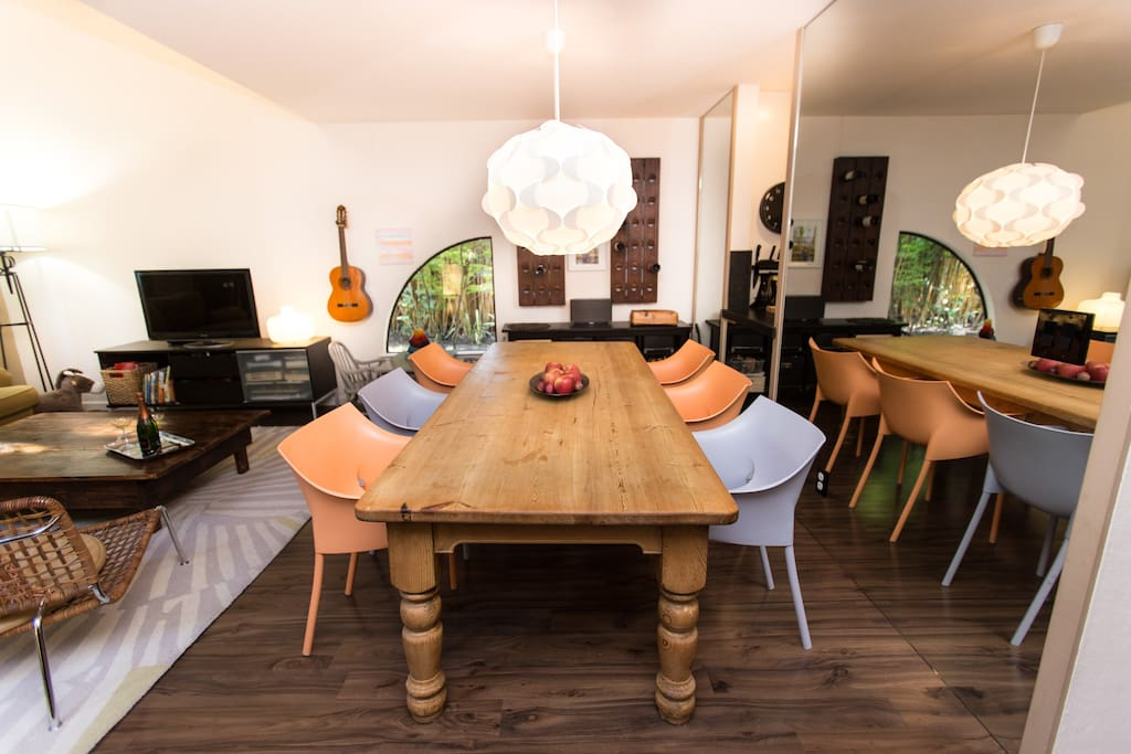 Farm house kitchen table accommodates 6