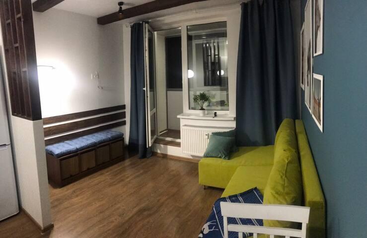 Уютная студия-квартира с дизайнерским ремонтом.