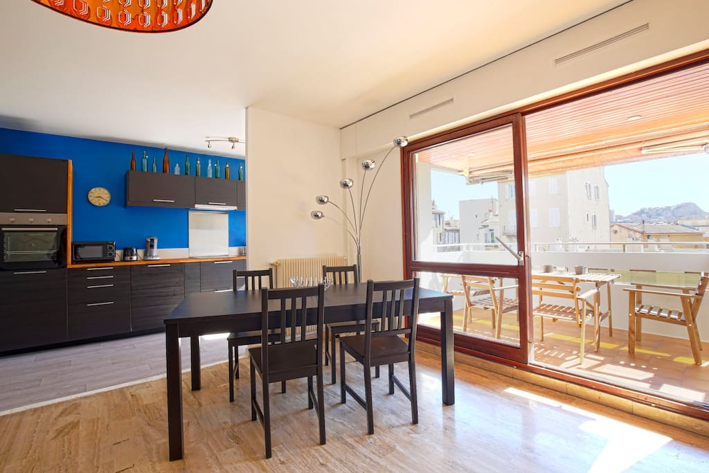Dining table inside and outside