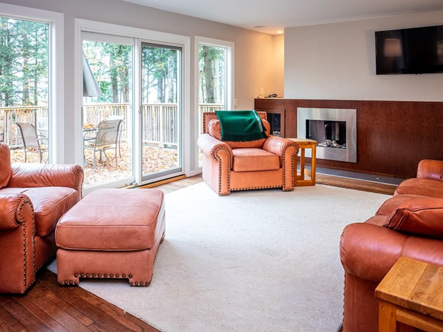 Great Room with Fireplace and Flat Screen TV