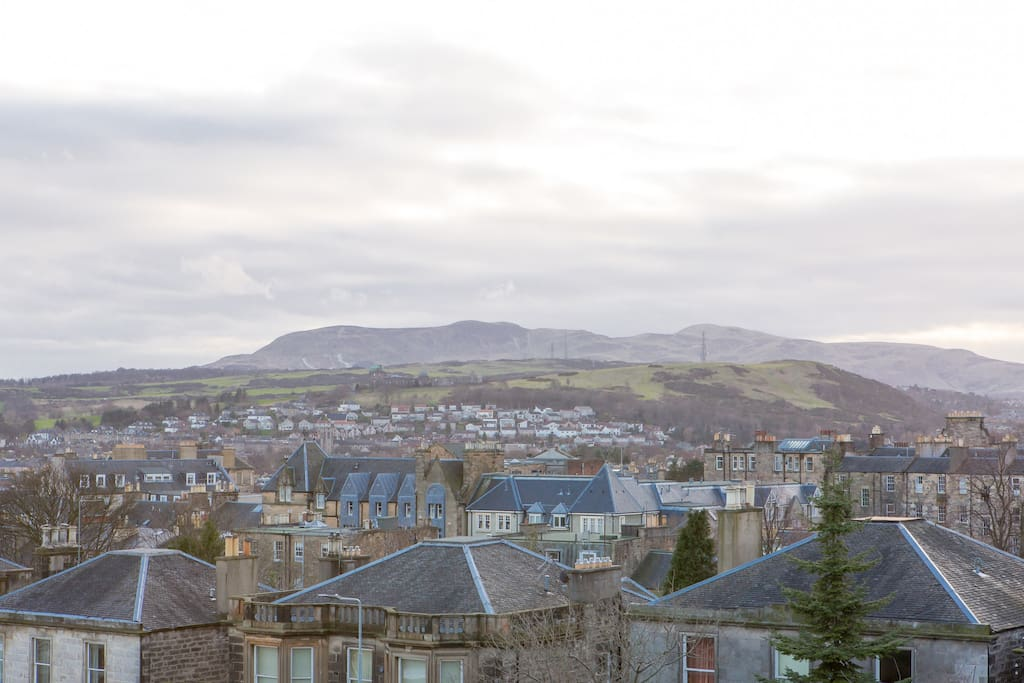 View of south Edinburgh and the Pentland hills from living room and front bedroom.