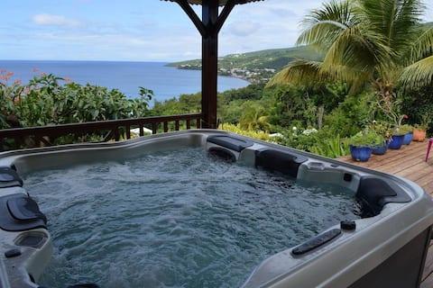 La Kaz à Thomy studio vue mer avec piscine et spa