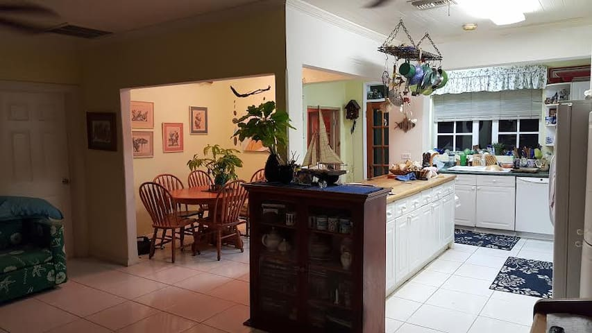 Dining space and a shared kitchen.