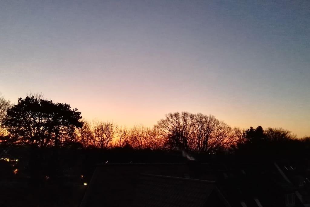 Sonnenaufgang vom Bett aus