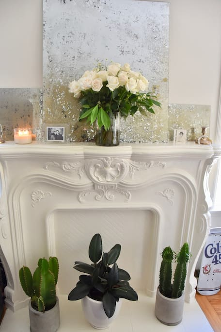 French flare with nice ornate fireplace and cactus garden.