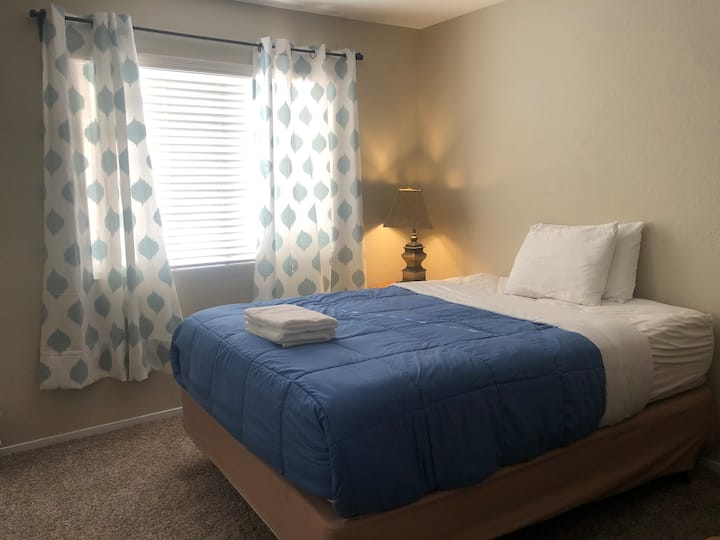 new bedroom with queen size bed