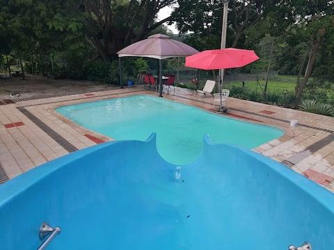 Rancho con piscina privada, 3hab, wifi, ACC, Priv