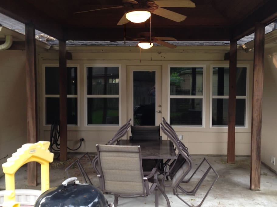 Covered Patio with fans and lights