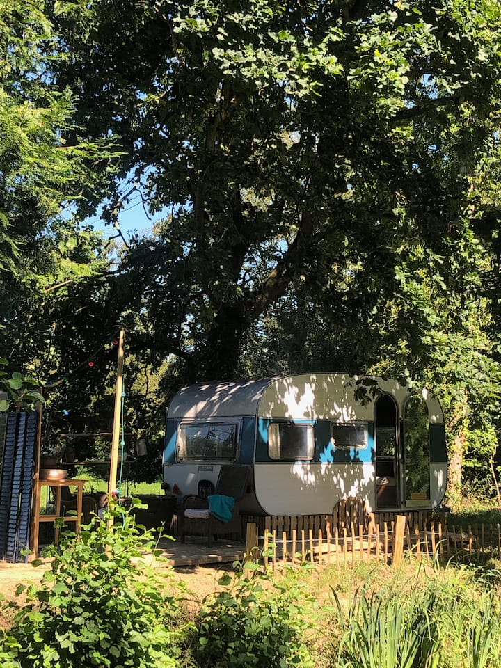 Caravane Vintage & Cosy  nichée dans un coeur